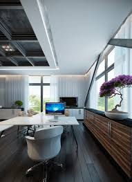 modern contemporary home office glass blue home office dark wood