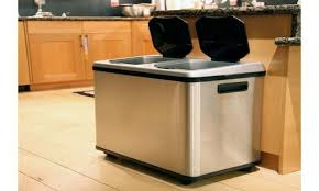 double compartment stainless steel kitchen recycling double trash can stainless steel kitchen trash can recycle