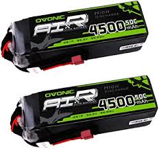 <b>OVONIC</b> Lipo RC Battery <b>2 Packs 22.2V</b> 4500mAh 50C 6S Deans ...