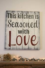 wood sign glass decor wooden kitchen wall: this kitchen is seasoned with love big diy ideas decorating kitchen walls