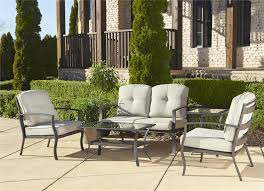 cosco outdoor 5 piece serene ridge aluminum patio furniture conversation set with cushions and coffee table brown set patio source outdoor