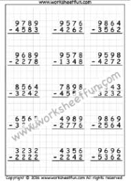 Math Worksheets on Graph Paper / FREE Printable Worksheets ...4 Digit Subtraction – No Regrouping – Three Worksheets