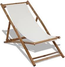 vidaXL <b>Deck Chair Bamboo</b> and Canvas Garden Beach Pool ...