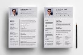 professional two page resume set resume templates on creative market