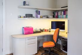 built in office furniture for the home with white modern floating rack design and orange simple built in study furniture