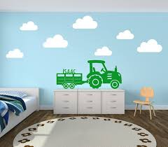 <b>Personalised</b> Tractor and Trailer with Clouds Farm Yard <b>Decal</b> Vinyl ...