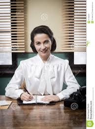 charming vintage receptionist working at office desk charming desk office vintage