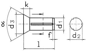 Насечённый по всей длине <b>штифт</b> DIN 1477 с <b>потайной головкой</b>