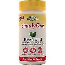 <b>Super Nutrition Simply One Prenatal Triple Power</b> 30 Tabs for sale ...