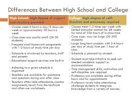 comparison essay differences between highschool and college  essay
