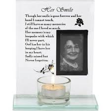 "<b>1pc</b> Glass Memorial Photo Frame ""Her <b>Smile</b>"" <b>Quote</b> Candle Holder ..."