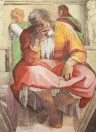 Deckenfresko zur Schöpfungsgeschichte in der Sixtinischen Kapelle, Szene in Lünette: Der Prophet Jeremias