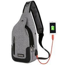 Shop Generic Male <b>Single Shoulder Bags</b> USB Charging Crossbody ...