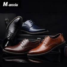 M anxiu Men Casual Flat Classic Men Dress Genuine Leather ...