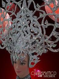 Details about CHARISMATICO tall openwork silver glitter headdress ...