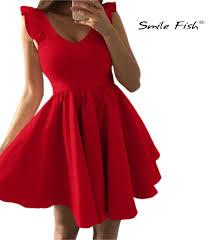 Cute Party Dress <b>Sweet V neck</b> Mini Dress Ruffles Sleeve A line ...