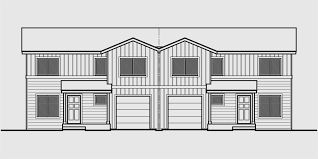Duplex House Plans  Duplex Plans With Garages Together  D  House front drawing elevation view for D  Duplex house plans  duplex plans