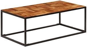 Festnight <b>Coffee Table 110x40x60</b> cm Solid Acacia Wood and Steel ...