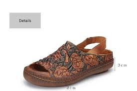Embossed Flower Sandals Shoes Lady <b>2019</b> Natural Leather Peep ...