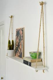 ideas wall shelf hooks: just three ingredients rope two hooks and a painted shelf are all it