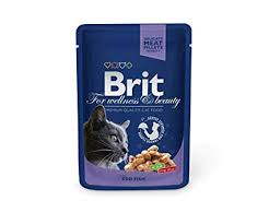 <b>Brit Premium Cat</b> Pouches with Cod Fish 100 g (Pack of 4): Amazon ...