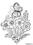 Цветы с бабочками раскраска