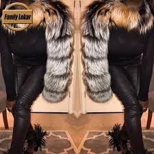Fandy Lokar <b>Real Fox Fur</b> Poncho Women <b>Fashion</b> Natural Sliver ...