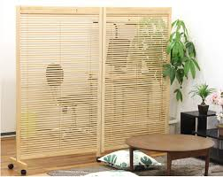 japanese movable wood partition wall 2 panel folding screen room divider home decor oriental decorative cheap asian furniture