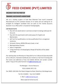 trainee accounts assistant lk sri lankan smartest job company