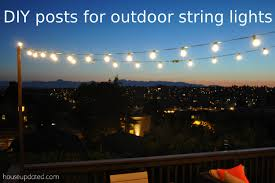 diy poles for outdoor globe string lights on the deck backyard string lighting
