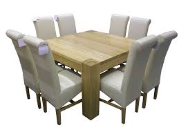 dining room tables chairs square: furniture square brown oak dining table with legs added by grey leather dining chairs with