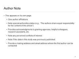 apa style overview a few preliminaries organization of apa author note this appears on its own page