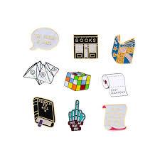 Fun <b>Cartoon</b> Men <b>Brooch</b> Women Enamel <b>Pin Book</b> Cube Middle ...