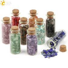 <b>CSJA 52x21mm Mini</b> Glass Wishing Bottles Natural Chip Stones ...