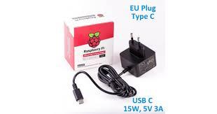 Official RPi 15W (<b>5V</b>/<b>3A</b>) PSU USB C <b>EU Plug</b>-Black