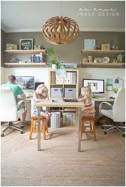 in home office fit for the whole family his and hers desks and childrens table basement home office design ideas