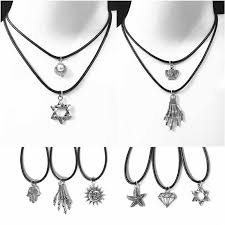 <b>Fashion</b> Retro Black Rope Hexagram <b>Choker Necklace</b> Lucky Six ...