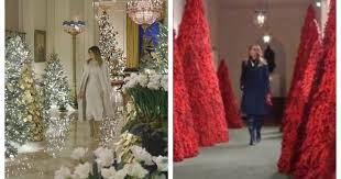Melania Trump lightens up White House <b>Christmas decor</b> after <b>red</b> ...