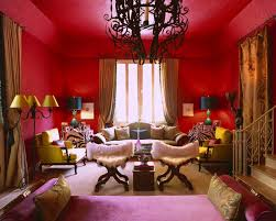 black chandelier feats stunning bohemian interior design featured vibrant red wall to ceiling paint color plus bohemian living room furniture