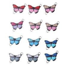 <b>10pcs</b> Alloy <b>Mixed</b> Color Enamel Art Oil Drop Butterfly Charms ...