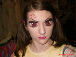 makeup tutorial angry anime eyes that i painted onto my own eyelids hope you guys like them 3