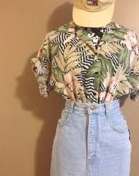 Vintage 1980's <b>Hawaiian Zebra</b> Palm <b>Floral</b> Camp Shirt Short ...