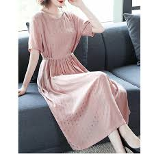 Cotton <b>Pink Dress</b> Women's Summer <b>Dress</b> Loose And Thin ...