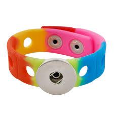 <b>New Fashion Multicolor</b> Silicone Stretch Snap Bracelet fit 18mm ...