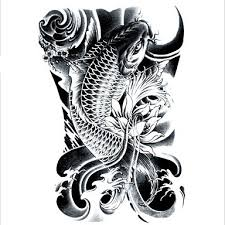 lc2814-<b>21-15cm</b>-3d-large-big-tatoo-sticker-sketch-black-golden-fish ...