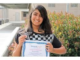 investwrite contest winnerrio norte junior high school seventh grader shriya bahri recently won first place in the