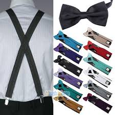 New <b>Men Suspenders</b> X-Back <b>4 Clips</b> Braces Adjustable <b>Clip</b>-On ...