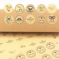 100Pcs ,<b>thank You</b> Love <b>Self Adhesive</b> Stickers Kraft <b>Label Sticker</b> ...