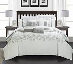 chic home 8 piece lauren contemporary comforter set king white chic white home