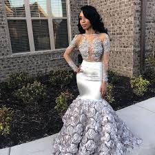 Silver African <b>Mermaid</b> Evening Dress <b>2019 New</b> Rose <b>Flower</b> Skirt ...